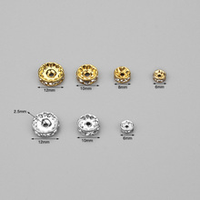 50pcs/lot 6/8/10/12mm Dia Silver/Gold Rhinestone Crystal Charm Beads Spacer Beads DIY Necklace Bracelet Making Accessories