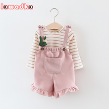 Lawadka Long Sleeve T Shirt + Overalls Baby Clothing Sets Girl Cotton Striped Baby Girls Clothes Sets Spring Style(China)