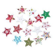 FUNIQUE 50Pcs/Lot Mixed Christmas Pattern Star Wooden Buttons 2-Hole Scrapbooking Crafts Children Clothing Decoration