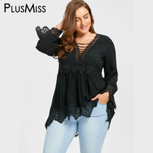 Plus Size 5XL Bell Flare Sleeve Lace Up Plunging Blouse Shirt Women Clothes Autumn Fall 2017 Vintage Sexy Lace Crochet Tops(China)