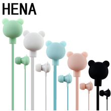 HENA Lovely Cute Cartoon Earphone Bear Earphone with Microphone In-ear Wired 3.5 mm Earphone for MP3 Mobile Phone