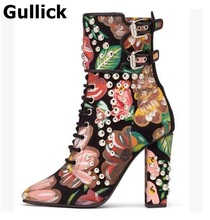 Gullick Luxurious Women Thick and High Heel Fall Winter Ankle Boots printing flower Rivert pointed Toe Double Buckle Shoes(China)