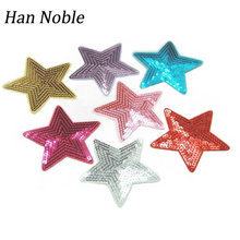 Star embroidery sequins Patches Iron on Stickers for clothes Sequin applique black for clothing Sewing Accessory 10pcs/lot P410(China)