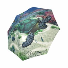 Sea Turtle Custom Printing Foldable Sun Rain Travel Umbrella 100% Fabric Aluminium High-Quality Foldable Umbrella(China)