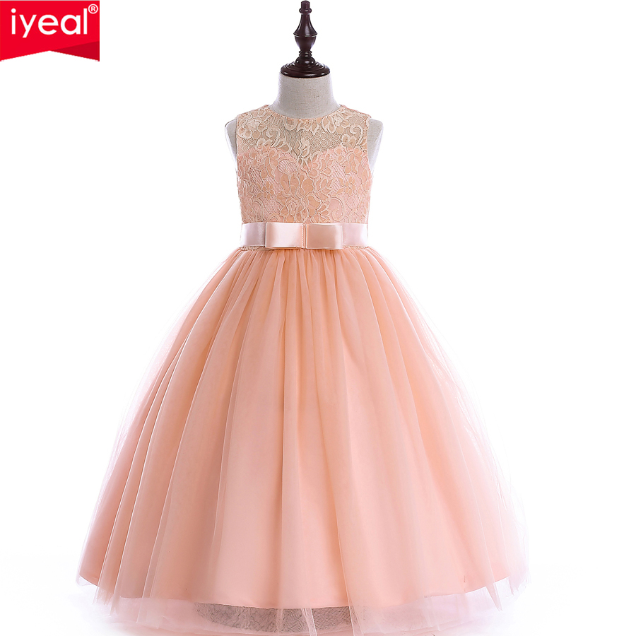 IYEAL Girls Lace UP Ball Gown Quality Wedding Dresses 2018 Kids Flower Girl Princess Costume for Birthday Party Dress with Belt<br>