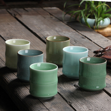 Chinese Cup Celadon Pu'er Tea Crack Bamboo Cups Coffee Tea Ceremony Artworks(China)