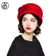 FS French Wool Felt Cloche Hat Red Ladies Rose Floral Winter Bowler Elegant Hats For Women Sombreros De Fieltro De Las Mujeres