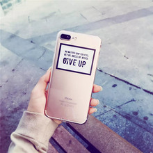 Personality Never Give Up Pattern Case Cover For iphone 7 7 plus 6 6s Plus Slim Soft TPU Cell Phone Cases +Dust plug  C64