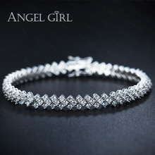 Angel Girl AAA+ Elegant CZ Tennis Bracelets for Woman Round Cut Wedding Jewelry 30 pieces free shipping by DHL to USA