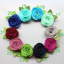 100 pcs/lot, 1.57 inch Mini Felt Flower with Leaves, handmade Felt Flower For DIY Hair Accessories You Choose color(China)