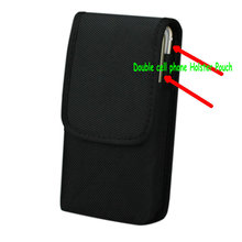 Double cell phone Waist Pack, For iphone 6splus 5.5 inch Nylon Pouch Bag with Belt Clip Holster Case For Galaxy Note 5 s7 edge(China)