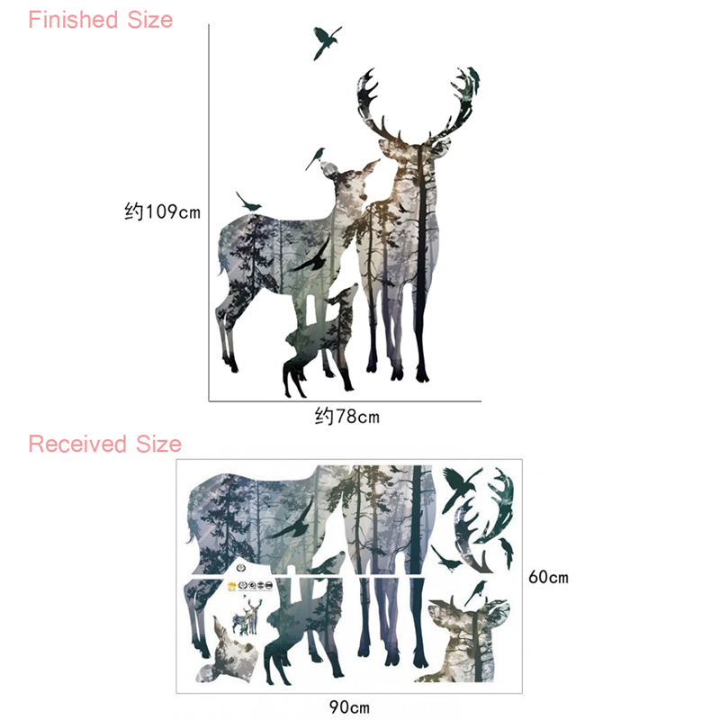 HTB1bE7bfDfN8KJjSZFjq6xGvpXaf 3d View Nature Forest Deer Wall Stickers Home Decor Living Room Office Decoration Pvc Wall Decals Poster Diy Mural Art
