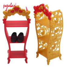 1Pcs Mix color Shoes Rack Furniture For 1/6 Barbie Doll Storage Racks For Monster High Dolls As for BJD Kids toys