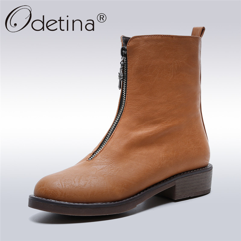 Odetina 2017 New Fashion Mid-calf Boots With Front Zipper Womens Square Chunky Low Heel Casual Winter Short Boots Big Size 34-43<br>