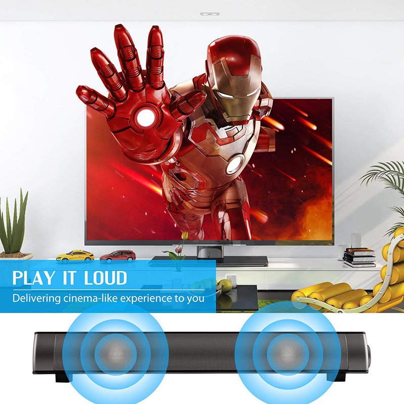 VTIN Wireless Bluetooth Speaker 4.2 SoundBar Remote Control TF Card TV Cellphone Tablet Surround Sound System TV Speaker Golden (13)