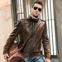 2016 Men's real leather jacket pigskin vintage Genuine Leather jacket men double face fur leather coat motorcycle jacket(China)