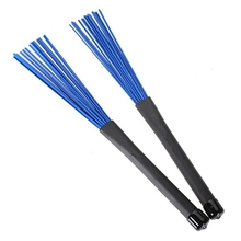 1 Pair 32cm Blue Nylon Retractable Rubber Handles Jazz Drum Brushes Sticks For Musical Instruments Parts Accessories(China)