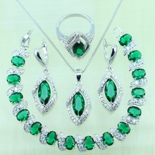 Horse Eye Silver color Green created Emerald Bracelets Jewelry Sets For Women Wedding Crystal Earrings/Ring/Necklace/Pendant