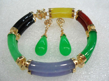 Lovely nice bridal jewelry 2 row colorful green/purple/red/yellow gem bracelet &earring set Jewellery woman word wholesale