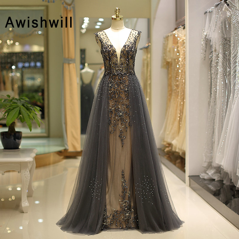 Luxury A Line Beading Evening Dress 2019 Long Sexy Open Back Beadings Tulle Women Formal Prom Dress Deep V Neck Robe de Soiree