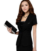 SEYAM Slim Jacket Blazer Women S-6XL Large Size Summer Short Sleeve Single Button Feminino Formal Black Blazer ow0303