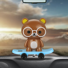 Solar Powered Bobble Dancer Bear Doll Car Decoration Ornaments Cute Automobile Interior Dashboard Shaking Head Toys Accessories(China)