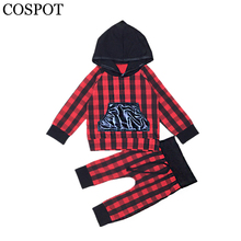 COSPOT Baby Boys Girls Spring Clothing Sets Kids Plaid 2Pcs Set Hoodies+Pants Girl Red Plaid Hooded Suits 2017 1-3 Yrs 30F