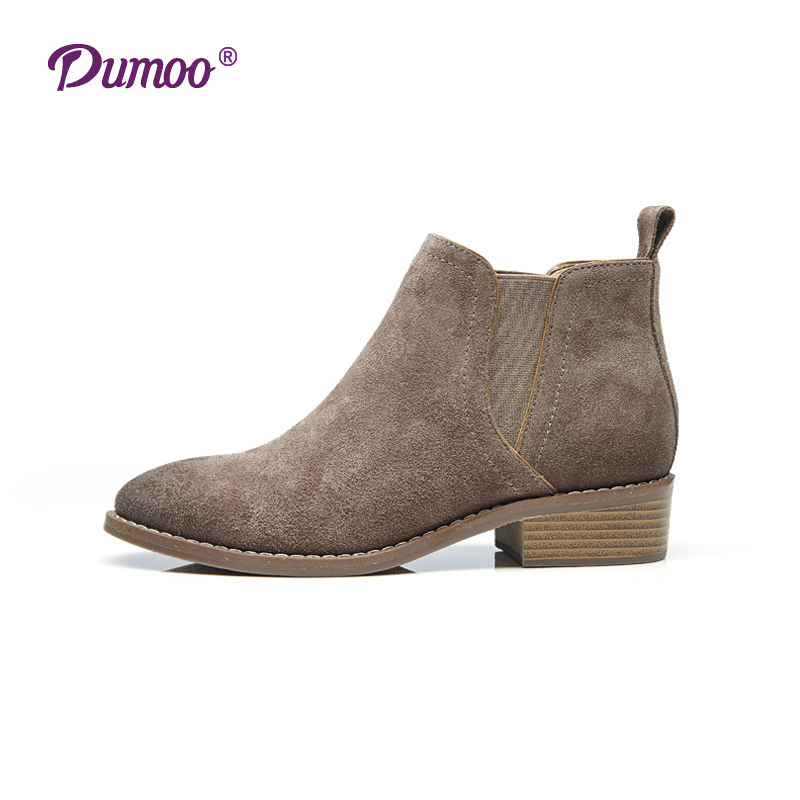 Fashion Chelsea Boots Women Boots Spring/Autumn High-end Genuine Leather Ankle Boots for Women Shoes Dumoo Beautoday Brand Sale<br><br>Aliexpress