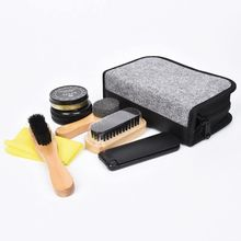 Fashion Men Shoes Cleaning Kit With Box Wooden Handle Brushes Shoe Shine Polish Portable Travel Leather Care Smooth Tool TB Sale(China)