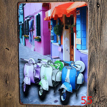 Three colorful motorcycle Vintage home decor metal Paintings Bar shop Garage painting 20*30 vintage home decor