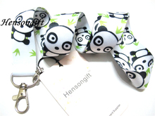 Hensongift ONE PCS White Anime Panda Badge Lanyard for Keys ID Card Holders Phone Neck Straps with Keyring(China)