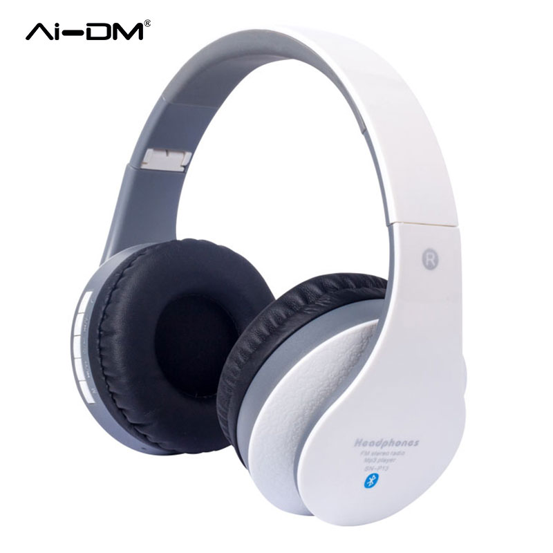 AIDM Bluetooth Headphone Headphones Over Ear Hi-Fi Stereo Wireless Headset Foldable Soft Memory-Protein Earmuffs w/ Built-in Mic<br>