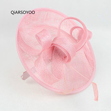 Fashion Pink Sinamay Hat Headband Hair Fascinator For Woman Cute Flower Feather Hair Band Girls Christmas Fancy Show Headdress(China)