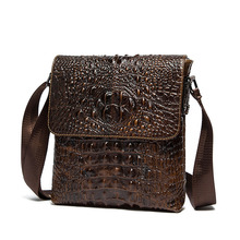 Genuine Leather Brand shoulder bags Designer men Crossbody Bag Crocodile pattern Shoulder Bags Vintage Small square Bag Handbag(China)