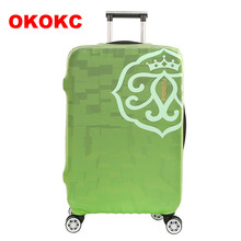 OKOKC Green Solid Elastic Luggage Dust Cover Travel Accessories on Road Protective Thickest Suitcase Cover for 18-32inch(China)