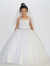 Luxury Bling Bling New Flower Girls Dresses 2017 Ball Gown White Tulle Beading Princess First Communion Dress Free Shipping
