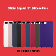 For iPhone 8 7 Plus Original 1:1 Silicone Copy Case Official Design Slim Silicon Phone Cover with logo
