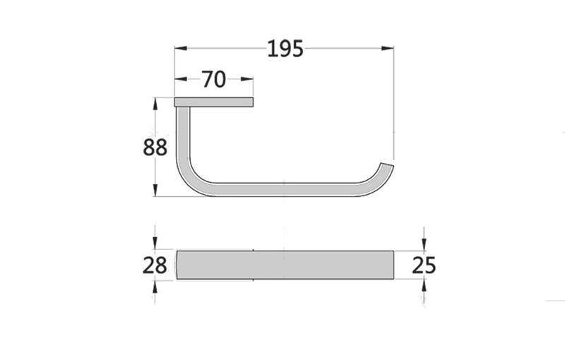washroom paper holder size