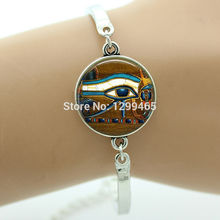 Ancient Eye of Horus Style bracelet   Blue Evil Eyes Fringe gift for men and women Egyptian Eye Glass Tile Jewelry  B 520
