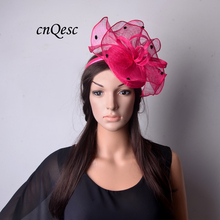 NEW Wholesale Attractive multiple color hot pink Sinamay fascinator hat for Melbourne Cup,Ascot Races,kentucky derby,wedding.(China)