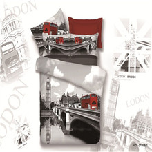100% cotton London Bridge Big ben double decker bus scenic Venice water city 4pcs bedclothes duvet cover bedding set Queen/B3445