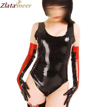 Black Latex Catsuit for Women Barelegged Zentai Fetish Short Latex Jumpsuit with Gloves Sexy Adult Costume Wear LC123(China)