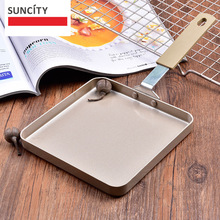Suncity Non-stick Tortilla Square Frying Pan For Egg Pancake fried steak Pot Handle Crepes Grill Pan Pancake Flipping Cookware(China)