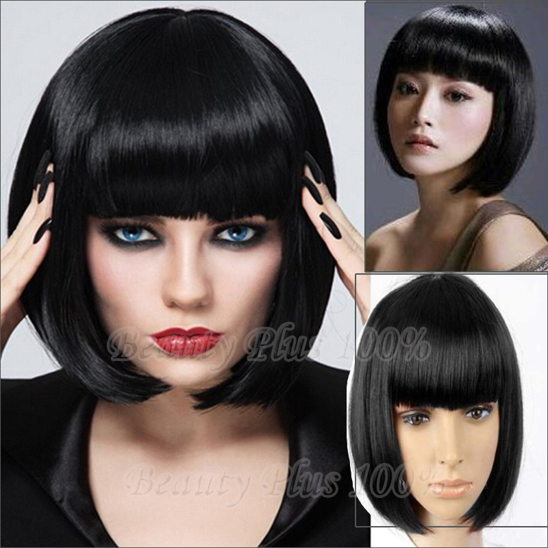 Black Short Synthetic Bobo Wigs With Bangs Cheap Wig On Sales Blue and Green Wig High Quality Black Wigs For Women Cosplay<br><br>Aliexpress