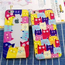 2016 antiknock air bag lovely cat cats cartoon TPU soft gel silicone clear case for iphone 5 5s 5g 6 6s 6 s plus cases cover