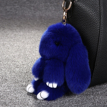 Rabbit Fur Cute Mini Fluffy Rabbit Doll Real Fur Pom Pom Pompon Keyring Women Girls Charm Toy Gift Stuffed Toys(China)