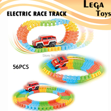 Super Snap Speedway Electric race track DIY Puzzle Toy Roller Coaster Track Toy Car Rail Car Toy 56/112/168PCS of Extra Track(China)