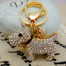 Adojewello Jewelry Rhinestone Crystal Lovely Poodle Keychain Cut dog Keyring Puppy Keychain Handbag Chram Key Holder Wholesale(China)
