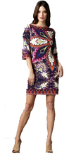 High Quality Designer Dress Women's Slash neck Floral Printing Jersey Silk 3/4 Sleeve Casual Dress Plus size XXL