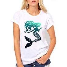 Buy Summer popular printed Style Women Casual white Short-sleeve Mermaid Print fashion O-neck women comfortable t-shirt Cute design for $6.95 in AliExpress store